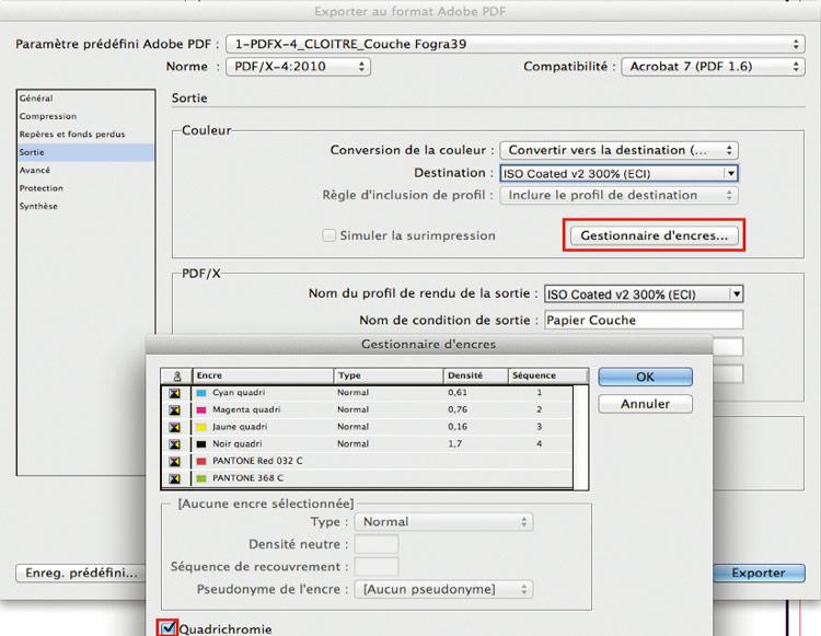 Conversion tons directs dans Suite Adobe pour PDF d'impression